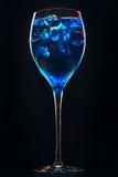Ontzagwekkende blauwe cocktail met ijsblokjes op donkere achtergrond Royalty-vrije Stock Afbeeldingen