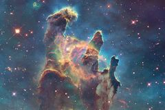 Ontzagwekkende kleurrijke nevel ergens in eindeloos heelal stock illustratie