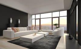 Ontzagwekkende Moderne Zolderwoonkamer | Architectuurbinnenland Stock Fotografie