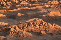 Ontzagwekkende Rotsvormingen bij Maanvallei of van Gr Valle DE La Luna, Atacama-Woestijn, San Pedro Atacama, Noordelijk Chili stock fotografie