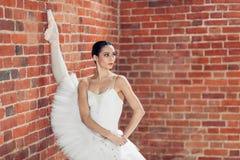 Ontzagwekkende slanke ballerina in pointes die de streng doen royalty-vrije stock afbeelding