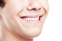 Ontzagwekkende toothy glimlachclose-up royalty-vrije stock fotografie