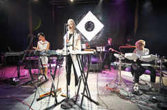 ONUKA band playing in the Lviv club. Lviv, Ukraine - 29. 04. 2015: Nata Zhyzhchenko frontwoman of ONUKA band performs at Lviv Stock Photos