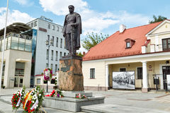 Мonument of Marshal Joseph Pilsudski  in Bialystok. Bialystok, Poland - August 23, 2015: Мonument of Marshal Joseph Pilsudski (Polish military commander and Royalty Free Stock Images