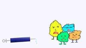 Onverbiddelijk grappig bacteriën of virus bang van spuit stock illustratie
