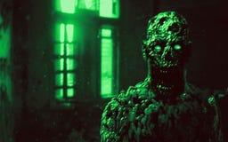 Onverbiddelijk zombie apocalyptisch gezicht Groene Achtergrond royalty-vrije stock foto's