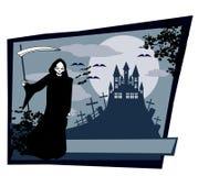 Onverbiddelijke maaimachine met Halloween-teken Stock Afbeelding