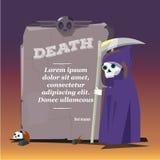 Onverbiddelijke Maaimachine met steen van dood presenting karakterontwerp - stock illustratie