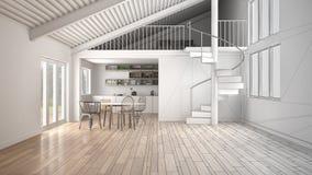 Minimalistische mezzanine zolder keuken het leven en slaapkamer