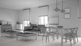 Onvolledig project van moderne eigentijdse woonkameropen plek met eettafel en hoekbureau, huiswerkplaats met computer vector illustratie