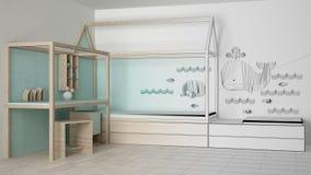 Onvolledig projectontwerp van houten en turkooise kinderenslaapkamer met eenpersoonsbed en bureau, minimalistisch architectuurbin stock afbeelding