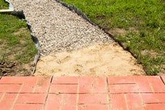 Onvolledige de bouwweg van rode betontegels Royalty-vrije Stock Afbeeldingen