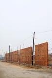 Onvolledige muur in de bouwwerf Royalty-vrije Stock Afbeeldingen