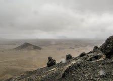 Onvruchtbaar en maan-als landschap van Askja, Hooglanden van IJsland, Europa stock afbeeldingen