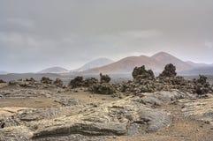 Onvruchtbaar landschap van Timanfaya Royalty-vrije Stock Fotografie