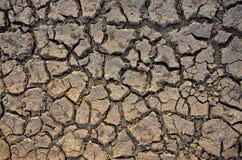 Onvruchtbare Aarde Droog Gebarsten Aarde Gebarsten modderpatroon Grond in barsten Gespleten textuur Droogteland Milieudroogte Royalty-vrije Stock Foto