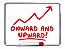 Onward and Upward Arrow Rising Words Royalty Free Stock Images