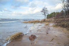 Onweer bij Oostzee, Letland Royalty-vrije Stock Foto's