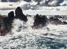 Onweer in de oceaan Royalty-vrije Stock Foto's