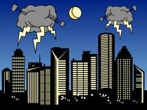 Onweer in de stad stock illustratie