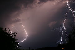 Onweer en bliksem Stock Fotografie