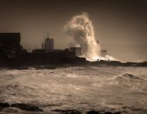 Onweer Graham bij Porthcawl-vuurtoren royalty-vrije stock afbeeldingen