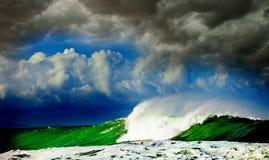 Onweer in oceaan Royalty-vrije Stock Foto's