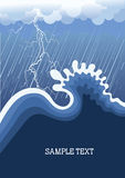 Onweer in oceaan met grote golf Stock Fotografie
