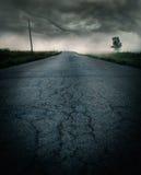 Onweer op de weg Stock Foto's