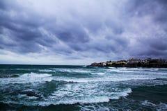 Onweer op de Zwarte Zee, Sozopol, Bulgarije stock afbeelding