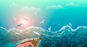 Onweer op het overzees, de golven en de zeemeeuwen, jacht die op de golven bij zonsondergang, de zomerzeegezicht varen stock illustratie
