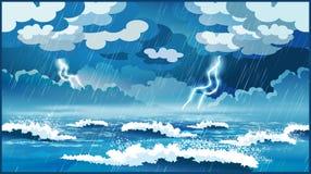 Onweer op zee stock foto's