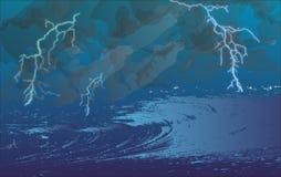 Onweer op zee royalty-vrije stock fotografie