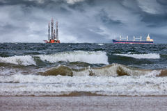 Onweer op zee Royalty-vrije Stock Afbeelding