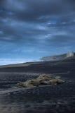 Onweer over het strand Stock Foto
