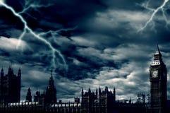 Onweer over Londen Stock Foto's