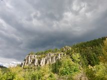 Onweer over Spearfish-Canion Stock Foto