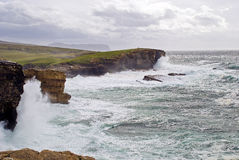 Onweer over Yesnaby; Orkney Royalty-vrije Stock Foto's
