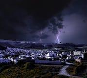 Onweer in Ronda, van de oudste dorpen in Andalusia royalty-vrije stock foto