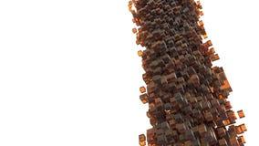 Onweer van oranje kubussen die van hemel vallen Abstract en 3D concept Royalty-vrije Stock Afbeeldingen