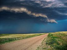 Onweer voor komst in over een vlakte van Nebraska stock foto's