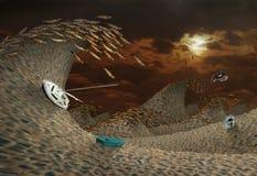 Onweer in Woestijn royalty-vrije stock fotografie