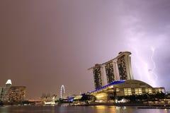 Onweersbui in Marina Bay, Singapore Royalty-vrije Stock Fotografie