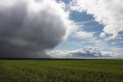 Onweerswolk over groen gebied Stock Afbeelding