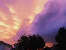 Onweerswolken bij zonsondergang met gesilhouetteerde bomen royalty-vrije stock afbeelding