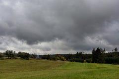 Onweerswolken, die over de groene weiden aan het bos rennen Stock Afbeeldingen
