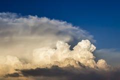 Onweerswolken gebaad in zonsonderganglicht Royalty-vrije Stock Foto's