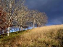 Onweerswolken op heuvel Stock Afbeelding