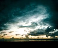 Onweerswolken over Kaapteleurstelling stock foto's