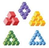 Onwerkelijke geometrische symbolen frome kubussen, vector illustratie